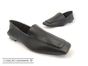 Mocassim Mule Soft Flex Preto Like Antique Bico Quadrado