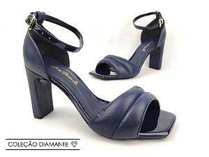 Sandália Soft Azul Marinho Navy Acolchoada Salto Meio Bloco 8 cm