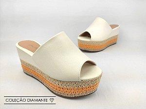Tamanco Soft Creme Salto Flatform Tricot 8 cm