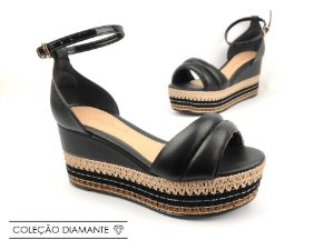 Sandália Soft Preta Flatform Tricot Acolchoada 8 cm