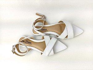 Sandália Rasteira Luxo Branca com Bico Folha