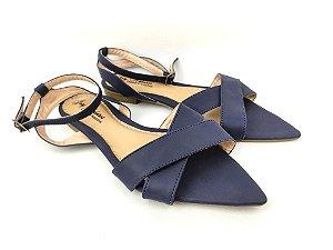 Sandália Rasteira Luxo Azul Marinho com Bico Folha