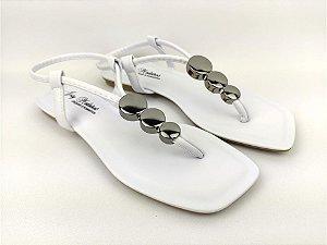 Rasteirinha Luxo Branca com Acessório Ajustável Metalizado