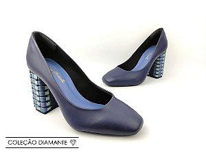 Scarpin Soft Azul Marinho Navy Salto Bloco Tons de Azul 8 cm