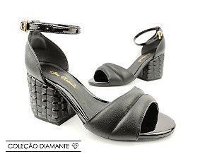 Sandália Soft Preta Acolchoada com Fivela Salto Bloco 7 cm
