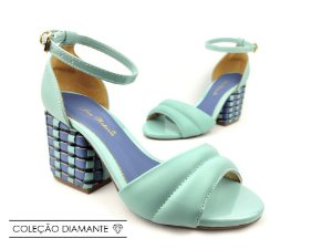 Sandália Soft Pistache Acolchoada com Fivela Salto Bloco Tons de Azul 7 cm
