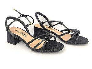 Sandália Tira Fina Luxo Preta Salto Flare 5 cm