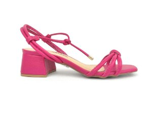 Sandália Tira Fina Luxo Rosa Salto Flare 5 cm