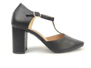 Sandália Scarpin Preta com Textura Salto 8 cm