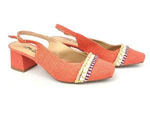 Scarpin Chanel Têxtil Laranja Summer com Cordões Salto 6 cm