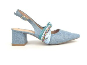 Scarpin Chanel Jeans Claro com Cordão Salto Bloco 6 cm