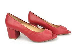 Peep Toe Clássico Vermelho Ferrari Salto Bloco 6 cm