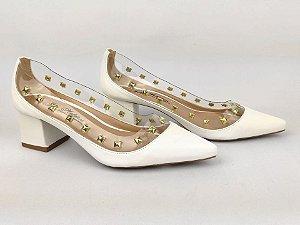 Scarpin Branco com Transparência Spike Metalizado Salto Bloco 5 cm