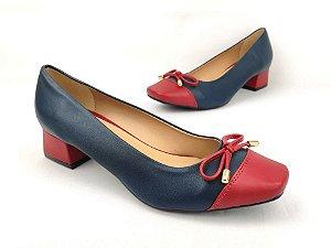 Scarpin Básico Azul Marinho com Vermelho Salto 4 cm