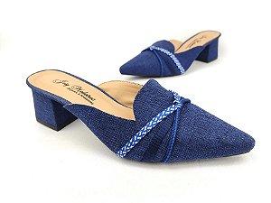 Mule Têxtil Azul com Cordões Salto Bloco 6 cm
