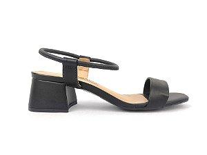 Sandália Preta Fina Salto Flare 5 cm