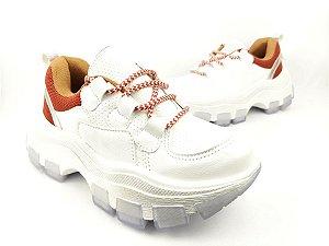 Tênis Chunky Sneaker Branco com Caramelo Solado 6 cm