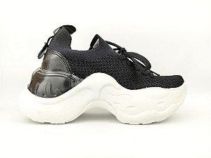 Tênis Chunky Sneaker Preto Clássico Trabalhado em Tecido Solado 5 cm