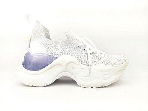 Tênis Chunky Sneaker Branco com Brilho em Tecido Solado 5 cm