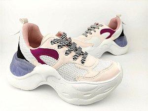 Tênis Chunky Sneaker Branco com Brilho Multicores Solado 5 cm