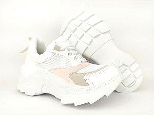 Tênis Chunky Sneaker Branco com Rosê Solado 5 cm