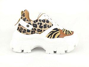 Tênis Chunky Sneaker Animal Print com Solado Branco 6 cm