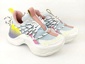Tênis Chunky Sneaker Colorido Amarração Atrás Solado 5 cm