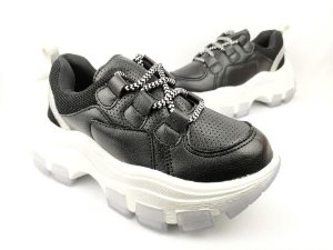 Tênis Chunky Sneaker Preto com Prata Solado Branco 6 cm
