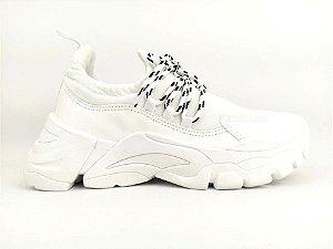 Tênis Chunky Sneaker Branco Têxtil Solado 5 cm