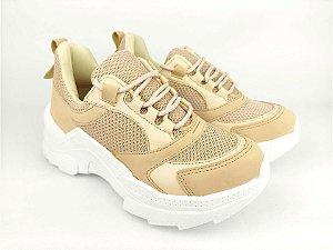 Tênis Chunky Sneaker Nude Clássico com Solado Branco 5 cm