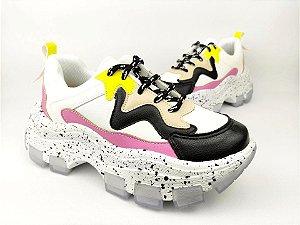 Tênis Chunky Sneaker Branco com Preto e Lilás Solado Decorado 6 cm