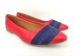 Sapatilha Vermelha com Faixas Jeans