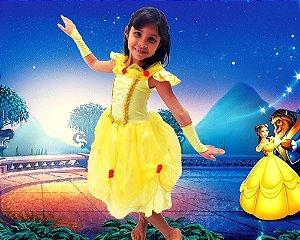 Vestido Princesa Bela Fantasia Infantil Luxo - Filme Bela e a Fera