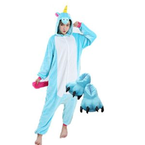 Kit Pijama Kigurumi Unicórnio Azul com Pantufa Pata