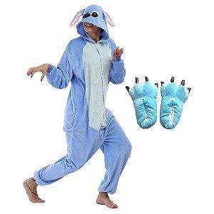 Kit Pijama com Pantufa Lilo Stitch Importado Kigurumi Peludinho Azul