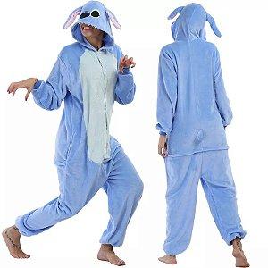 Pijama Importado Kigurumi Lilo Stitch Peludinho Azul Macacão com Capuz