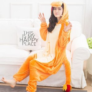Pijama Macacão Kigurumi Pokemon Charmander Unissex Sob Encomenda