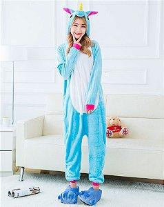 Pijama Kigurumi Fantasia Macacão Unicórnio Azul