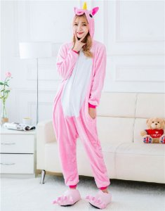Pijama Macacão Kigurumi Unicórnio Rosa Claro