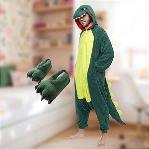 Kit Pijama e Pantufa Fantasia Dinossauro Kigurumi Skin do Jogo Free Fire