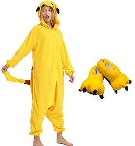 Kit Pijama Pikachu e Pantufa Macacão Kigurumi