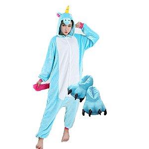 Kit Pijama Kigurumi Fantasia Macacão Unicórnio Azul e Pantufa