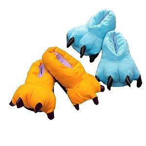 Kit 2 Pantufas Pata de Garra Unicórnio Azul e Pikachu Amarelo