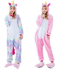 Kit 2 Pijamas Unicórnio Estrela e Rosa Kigurumi Unissex