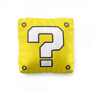 Almofada Mario Bloco de Interrogação Amarelo Geek com Enchimento