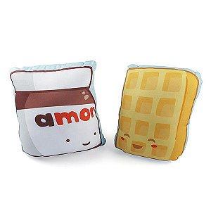 KIT 2 Almofadas Nutella Waffle A gente Combina Decoração Geek com Enchimento