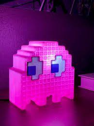 Luminaria Fantasma Pac Man Rosa Decoração Geek Nerd