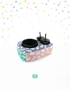 Kit Almofada Te Amo Mãe + Balde Porta Pipocas + 2 Copos para Refri Colorido Geek