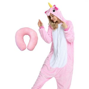 Kit Pijama Kigurumi Unicórnio Rosa com Almofada de Pescoço Soneca