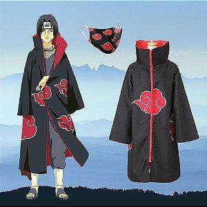 Kit Akatsuki Capa Itachi + Máscara Forrada Anime Naruto